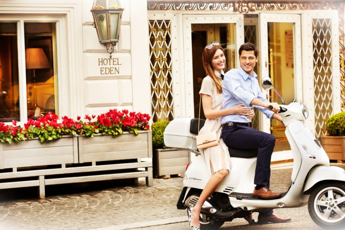 Hotel Eden-Couple on a vespa-July 2015