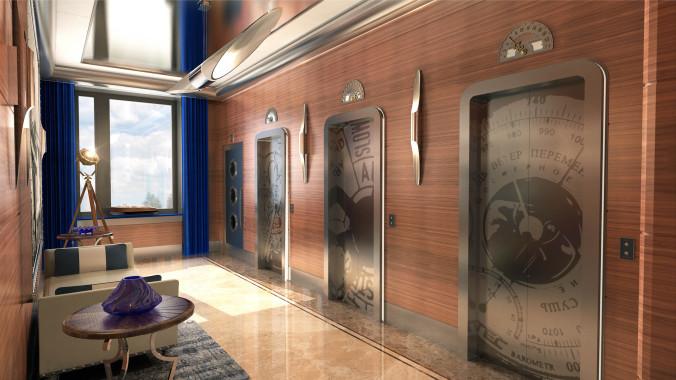 Лифтовые холлы жилого комплекса Невский
