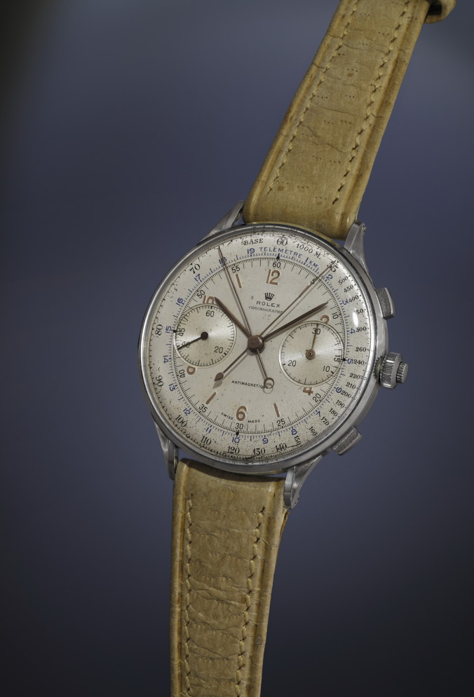 ROLEX, extremely rare oversized steel split-seconds chronograph, 1942, sold for CHF 2,405,000