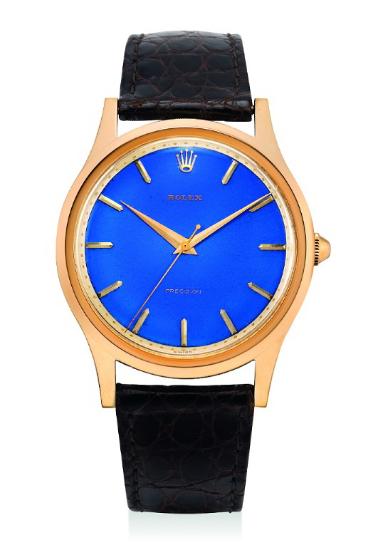 HK$1,900,000_Rolex.oversized rare pink gold watch with sweep centre seconds & blue enamel dial_ref 8382