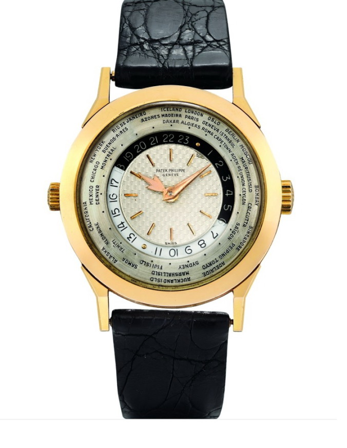 HK$19,496,000_Patek Philippe.previously unknown pink gold worldtime with 2 crowns and two-tone dial Ref.2523