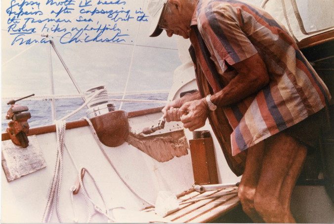 CIRCA 19667 FRANCIS CHICHESTER ONBOARD -GIPSY MOTH IV- DURING FIRST -ONE-STOP- SOLO CIRCUMNAVIGATION.