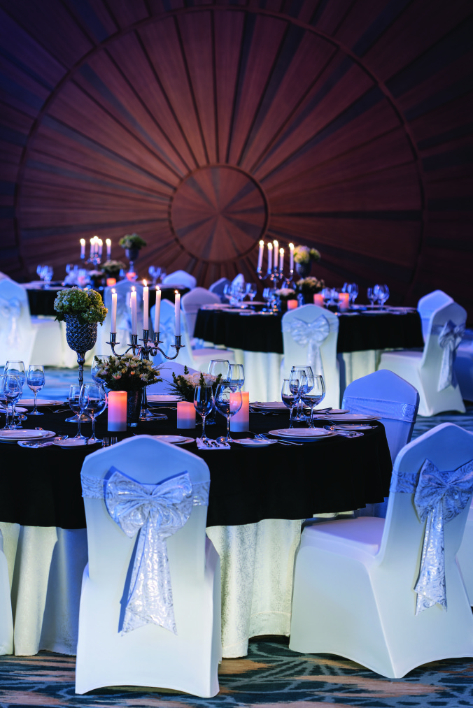 Grand ballroom gala dinner blue detail