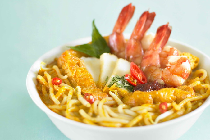Laksa - with prawn tails sticking out